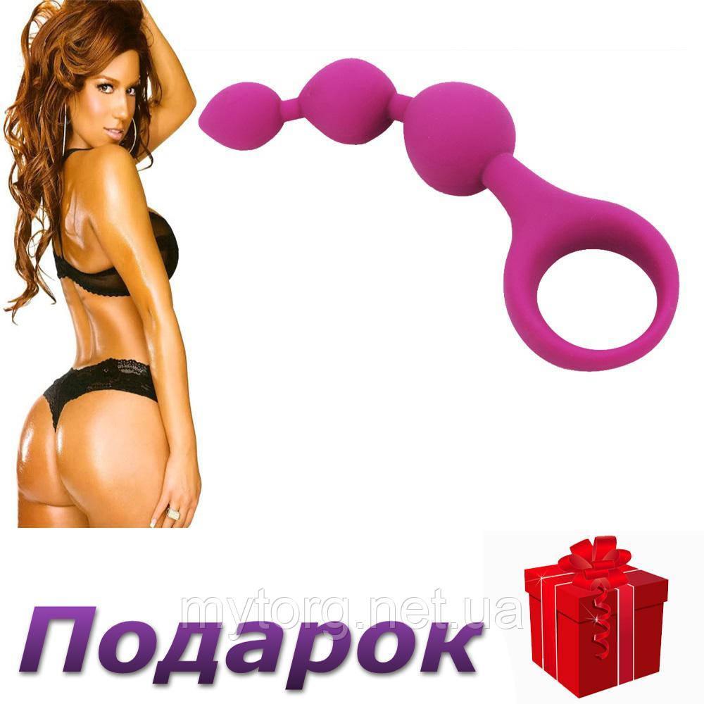 Силиконовые анальные шарики 1,8 см х 2,3 см х 2,8 см х 11 см Розовый