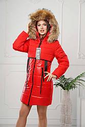 Зимова куртка жіноча натуральне хутро (єнот FINLAND) Різні кольори