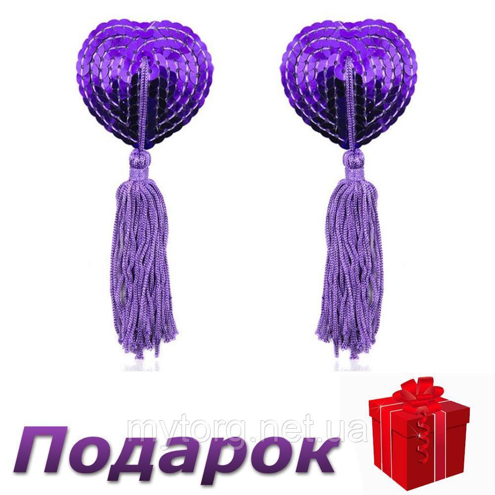 Наклейки для сосков Hearts с пайетками и кисточками  Фиолетовый
