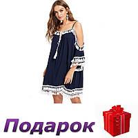 Платье Shein с кисточками женское XL Синий, фото 1