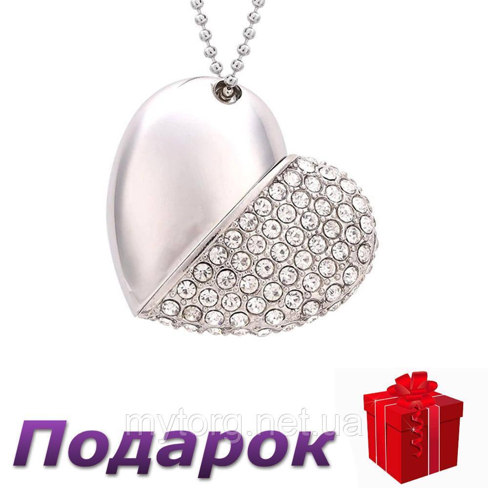 Флеш накопитель кулон Satzuma Сердце 32 ГБ  Серебристый