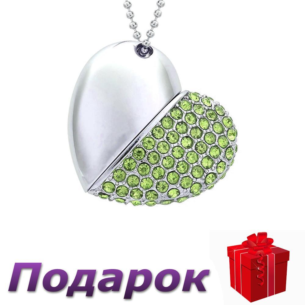 Флеш накопитель кулон Satzuma Сердце 32 ГБ  Зеленый