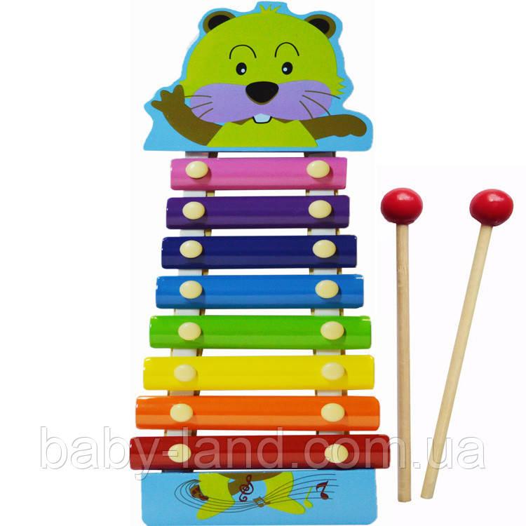 Детская игрушка Ксилофон MD0712 деревянная (Бобер)