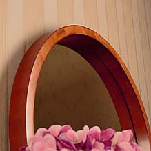 Деревянная рама зеркало круглое/Диаметр 390мм/ Зеркало в дереве цвет вишня/ Код MDD 2.1/2