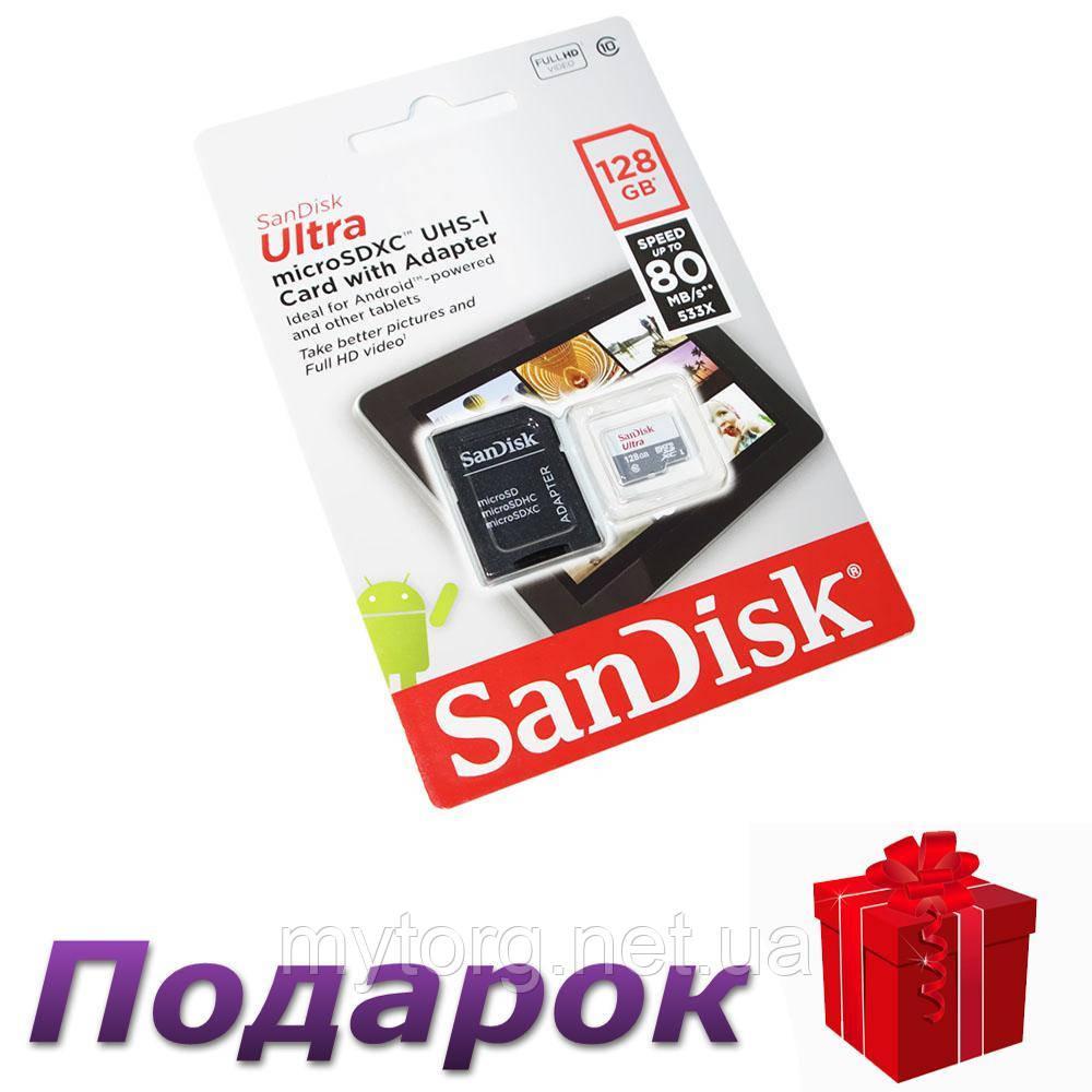 Карта памяти microSDXC, 128Gb, Class10 UHS-I, SanDisk Ultra 80Mb/s SD адаптер
