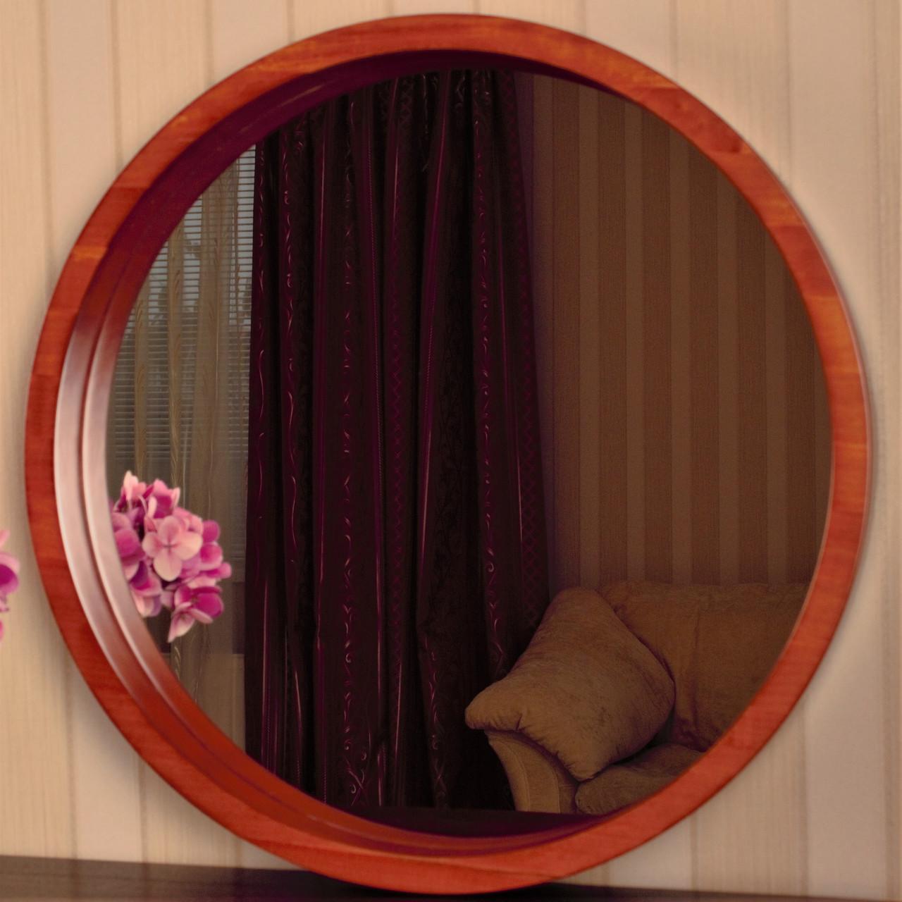 "Зеркало в круглой деревянной раме/Диаметр 520 мм/ Зеркало в дереве цвет ""Вишня""/ Код MDD 2.1/3"