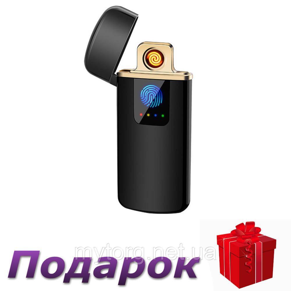 Зажигалка USB Touch ID электроимпульсная  Черный