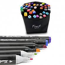 Набор из 48 скетч маркеров для рисования двухсторонних, фломастеры Touch Raven в сумке-чехле
