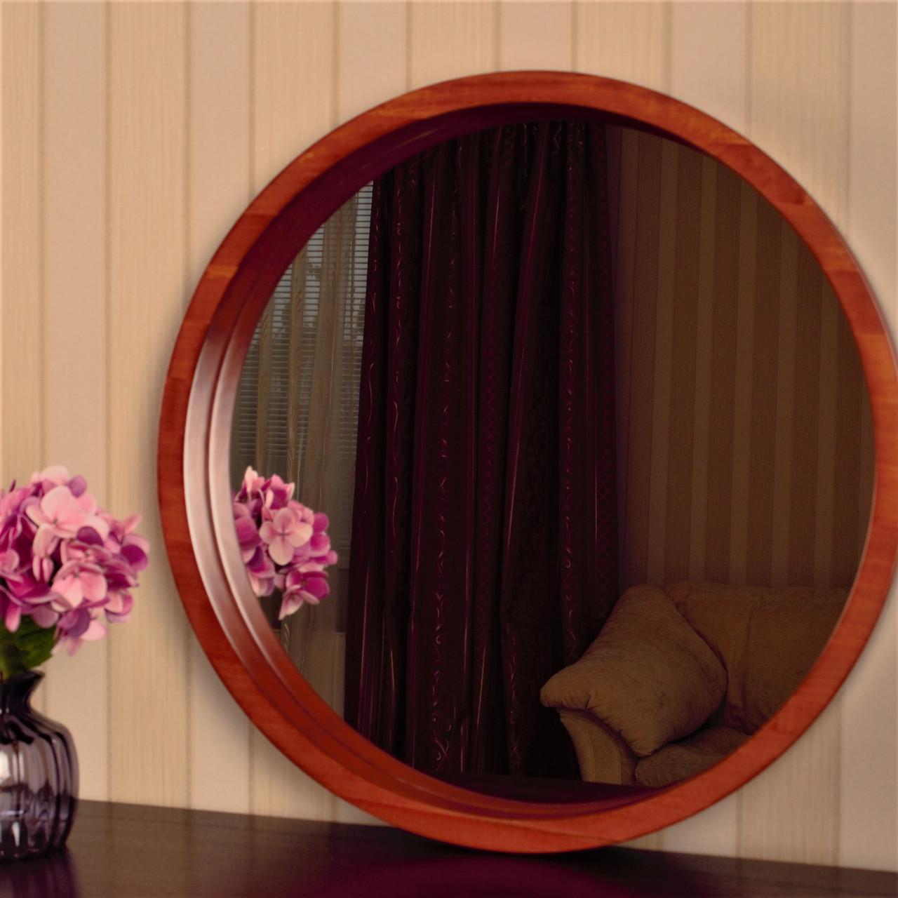"Круглое зеркало деревянной рамке/Диаметр 590 мм/ Зеркало в дереве цвет ""Вишня""/ Код MDD 2.1/4"
