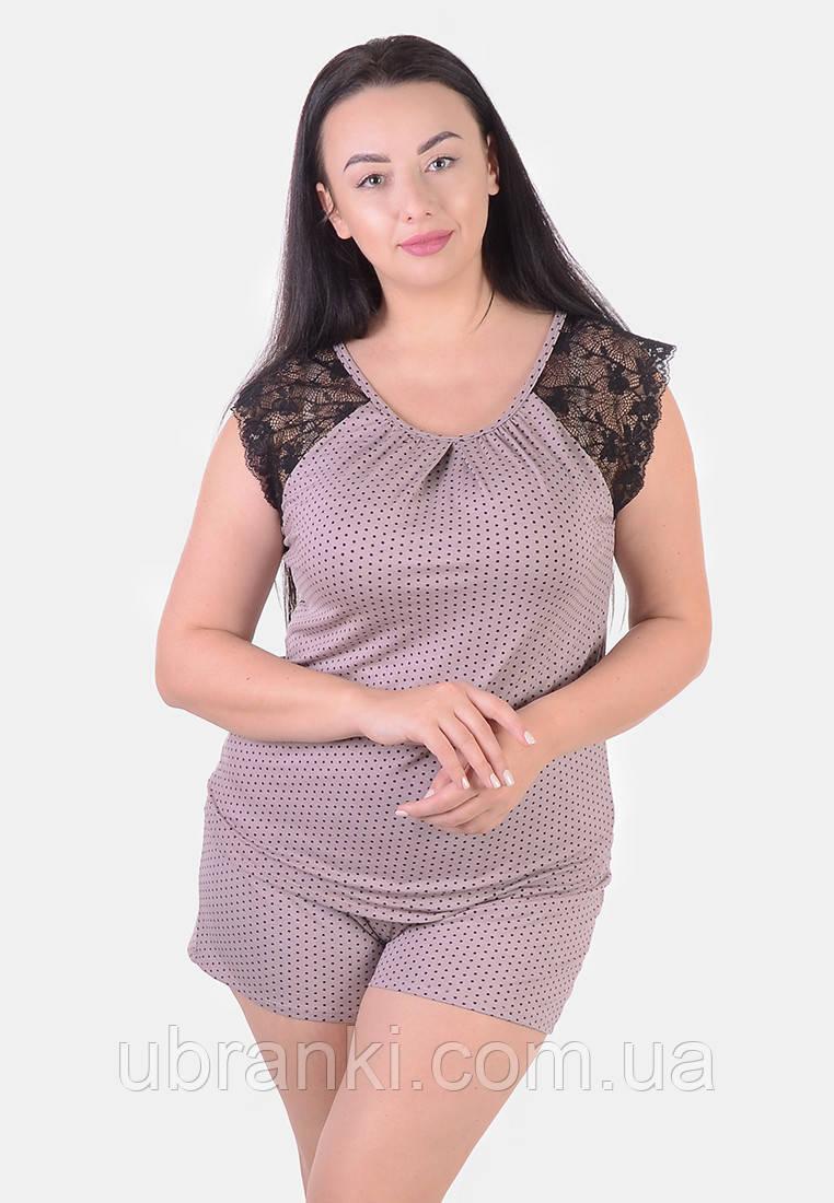 Женская пижама больших розмеров (майка, шорты)