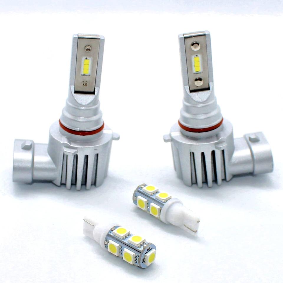Комплект автомобильных светодиодных LED ламп для фар авто Sho-Me F3 HB3 9005 8000Lm 6500K Головной свет Лед