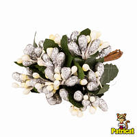 Тычинки Серебристо-лимонные с ягодками и листиками 24 шт/уп на проволоке в блестках