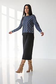 Уютный трикотажный женский костюм c юбкой-миди в 2 цветах в универсальном размере 42-46