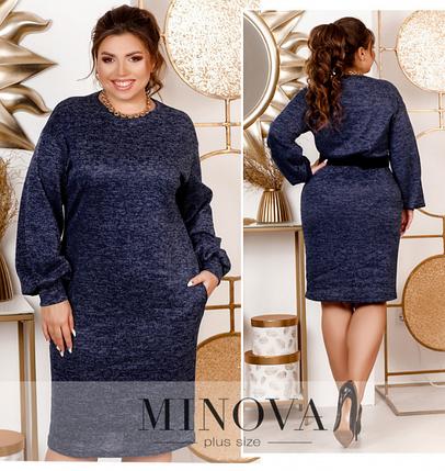 Минималистичное стильное платье большого размера без застёжек Минова Размеры: 48-52, 54-58, 60-64, фото 2