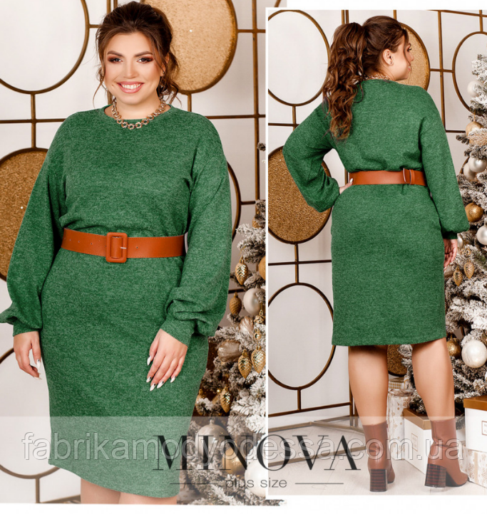 Минималистичное стильное платье большого размера без застёжек Минова Размеры: 48-52, 54-58, 60-64