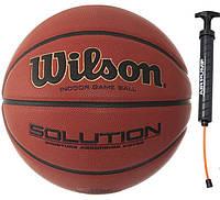 Мяч баскетбольный профессиональный Wilson Solution FIBA размер 7 композитная кожа (B0616X)