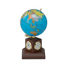 Глобус політичний 10,6 см BLUE на дерев'яній підставці, метеостанція (колір горіх)