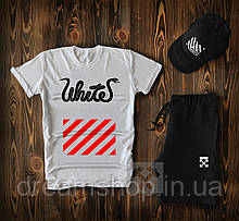 Чоловічий річний комплект кепка шорти і футболка Офф Вайт (Off White)
