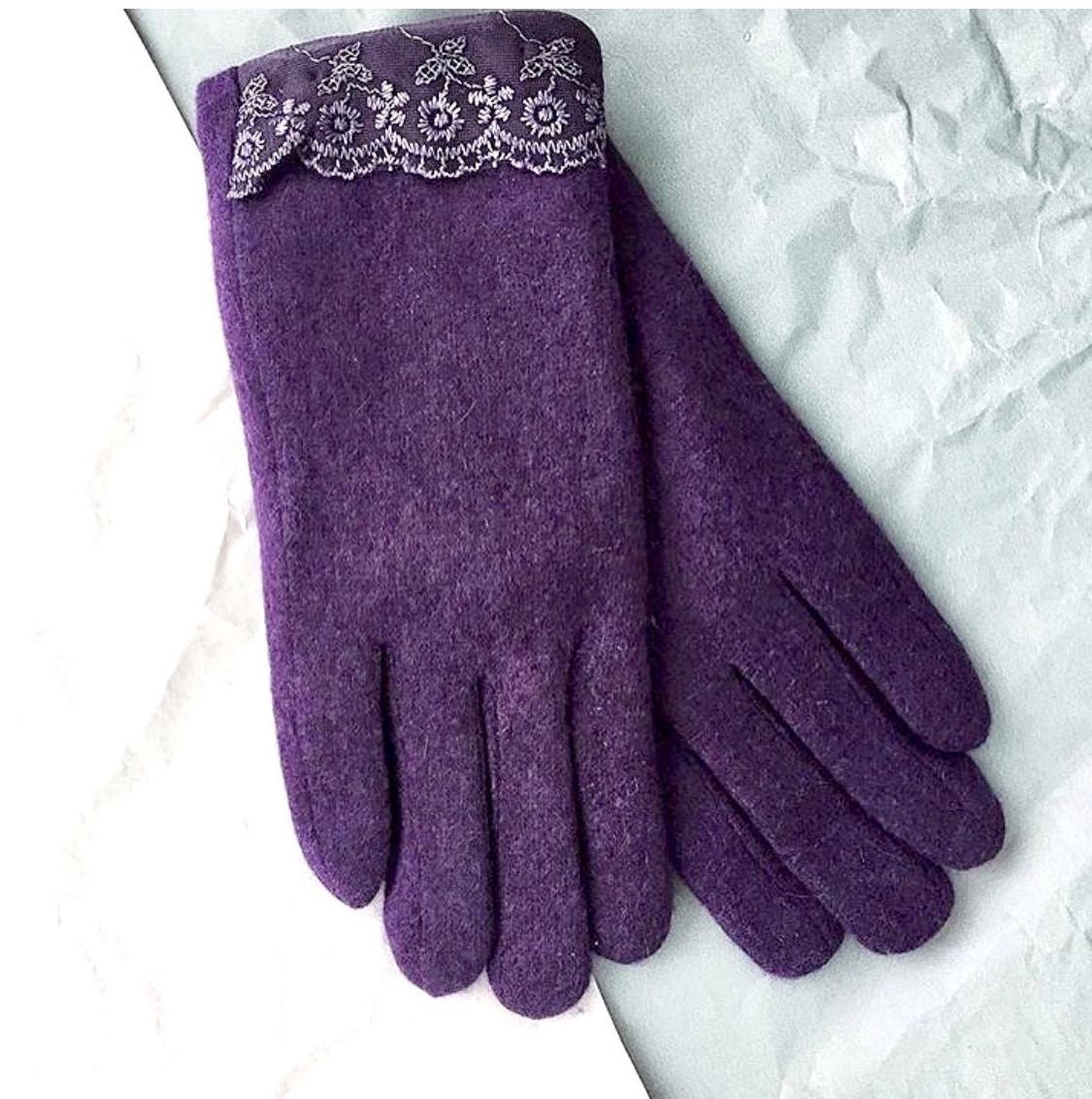 Перчатки из кашемира фиолетовые (Ш-429)