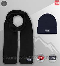 Зимовий чоловічий комплект шарф і шапка Зе Норс Фейс (The North Face), флісовий шарф і в'язана шапка Зе Норс