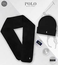 Чоловічий теплий комплект шапка і шарф Ральф Лоурен, відмінної якості