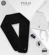 Зимовий чоловічий комплект шарф і шапка Ральф Лоурен (Ralph Lauren), флісовий шарф і в'язана шапка Ральф