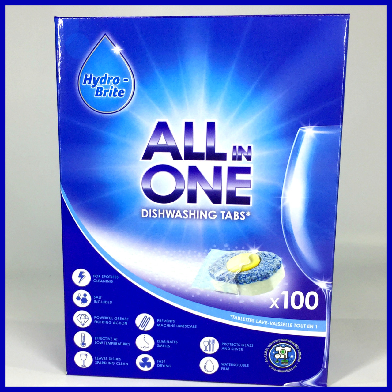 Таблетки для посудомийної машини Hydro-Brite 100шт All in One все в одному