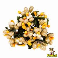 Тычинки Золотисто-оранжевые с ягодками и листиками 6 шт/уп на проволоке в блестках