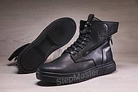Зимние кожаные кроссовки на меху Diesel Black Wing, фото 1