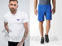 Мужская футболка с воротником и шорты Рибок, поло и шорты Reebok
