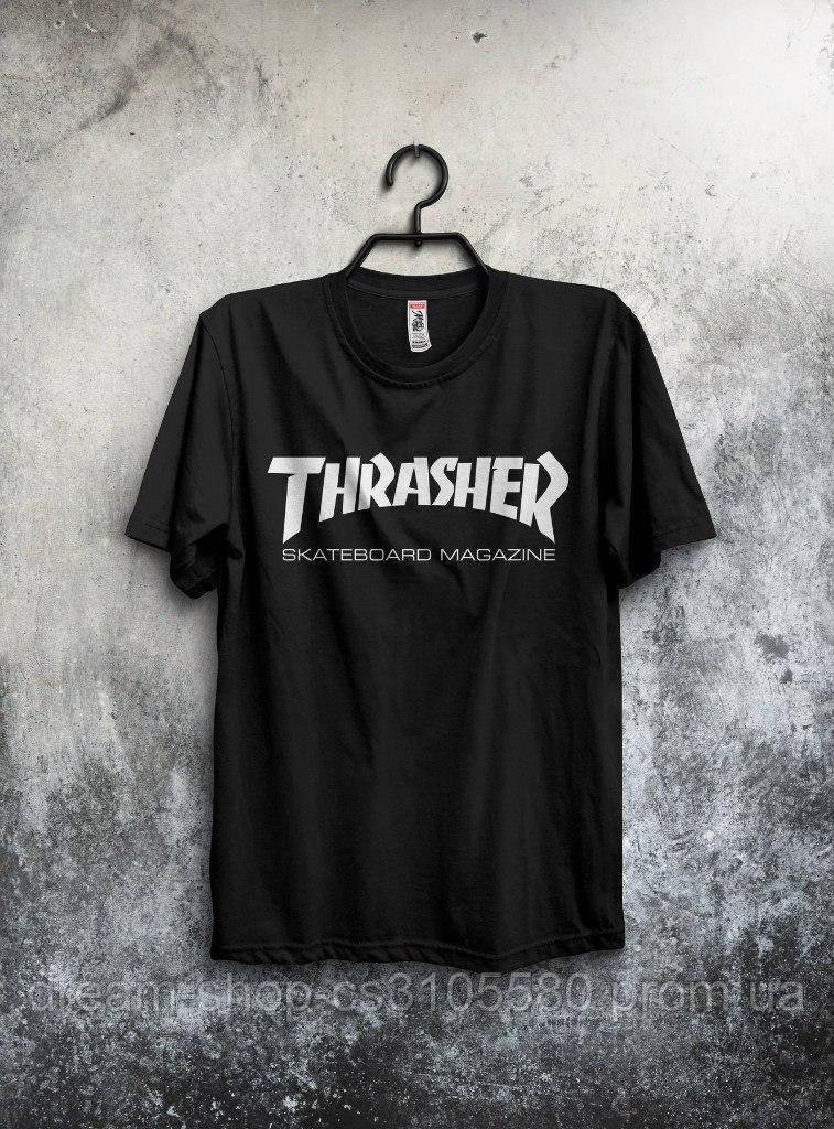 Трикотажная мужская футболка Трешер, хлопковая футболка Thrasher S черная