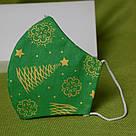 Новорічна захисна маска для обличчя тришарова багаторазова бавовняна Ялинка. Відправлення в день замовлення, фото 8