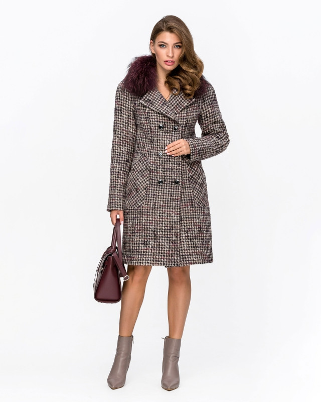 Пальто с мехом клетка слива