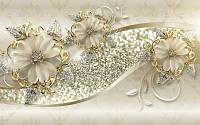 Фотообои 3Д цветы с золотом разные текстуры , индивидуальный размер