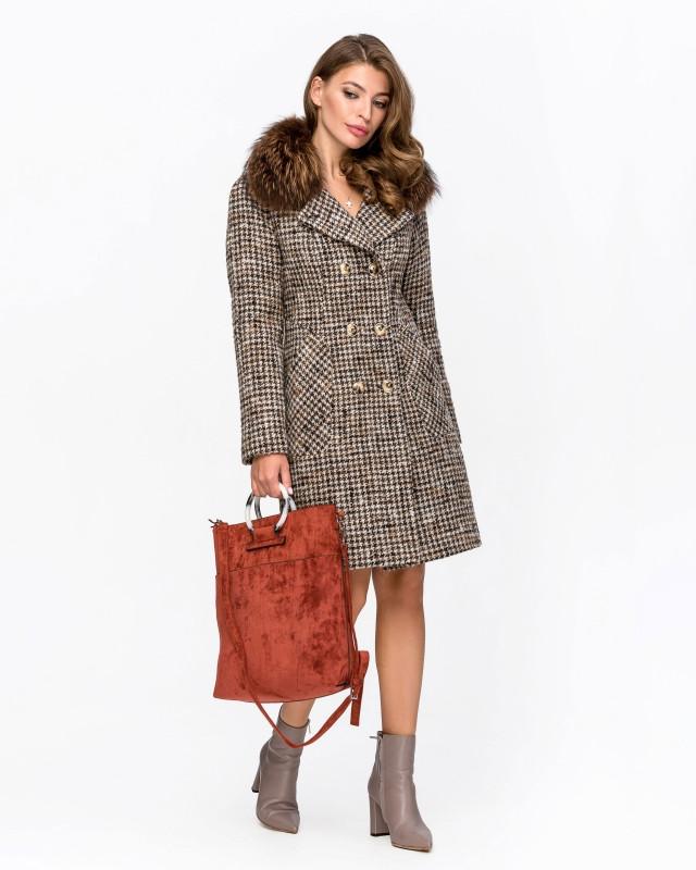 Пальто с мехом клетка коричневое