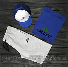 Мужской летний комплект кепка шорты и футболка Лакост (Lacoste)