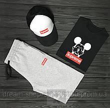 Мужской летний комплект кепка шорты и футболка Суприм (Supreme)