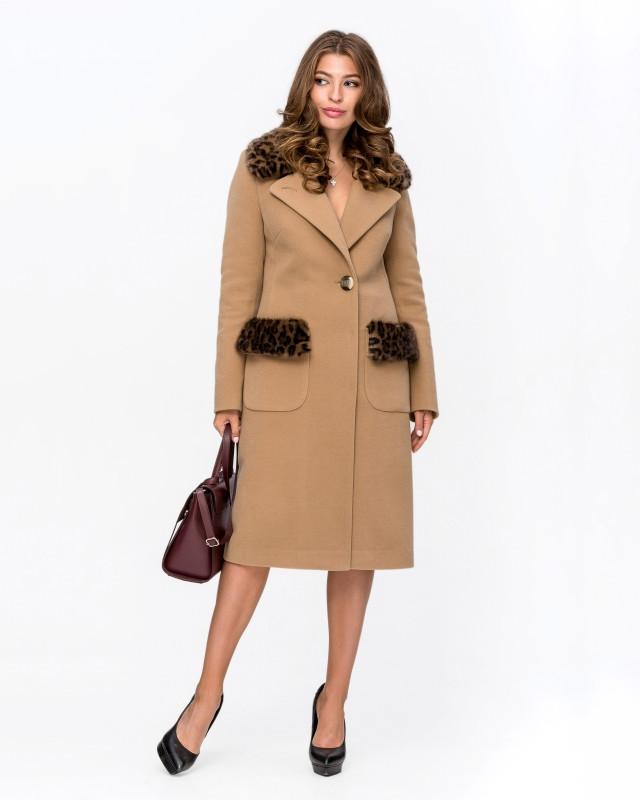 Пальто зимнее с мехом Леопард бежевый