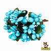 Тычинки бирюзовые с ягодками и листиками 24 шт/уп на проволоке в блестках