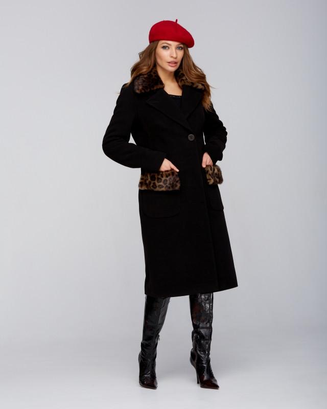 Пальто Dimoda зимовий з хутром Леопард чорний (5095-2) 44 розмір