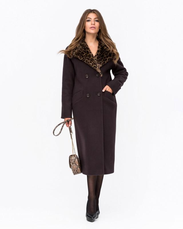 Зимнее пальто шерстяное Леопард шоколад