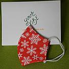 Новогодняя защитная маска для лица женская трехслойная многоразовая хлопковая Снежинки, фото 4