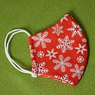 Новогодняя защитная маска для лица женская трехслойная многоразовая хлопковая Снежинки, фото 8