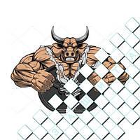 Термоаппликации Свирепый бык [Свой размер и материалы в ассортименте] 6.4, 10, Средний