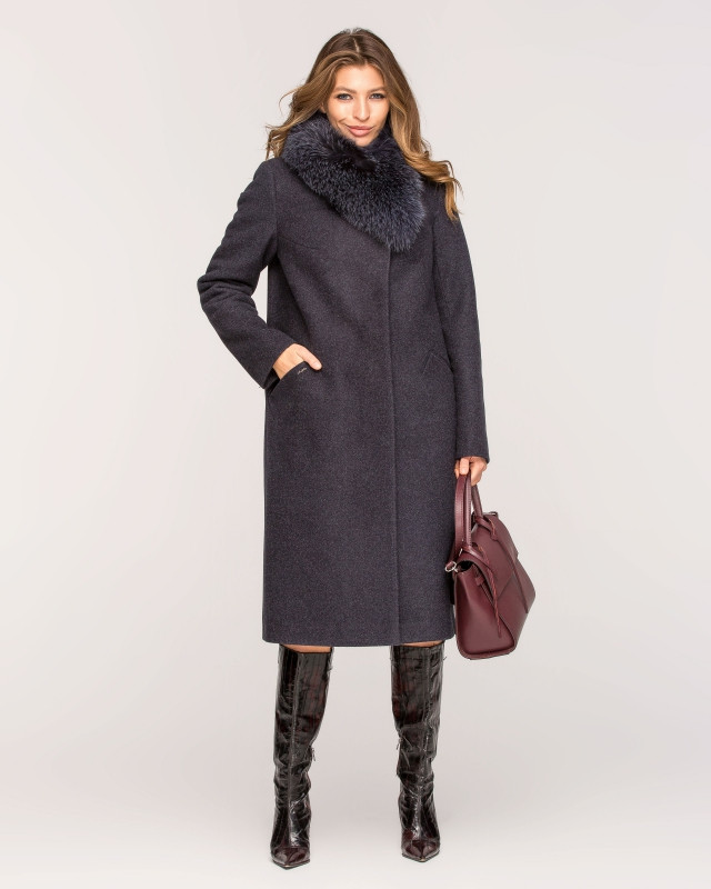 Пальто зимнее с мехом классика темно-синее