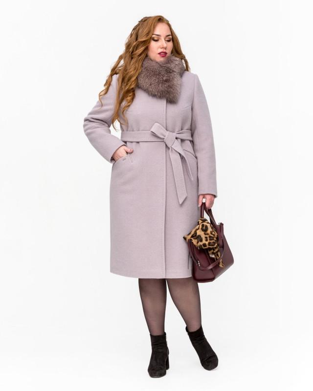 Пальто зимнее с мехом классика бежевое
