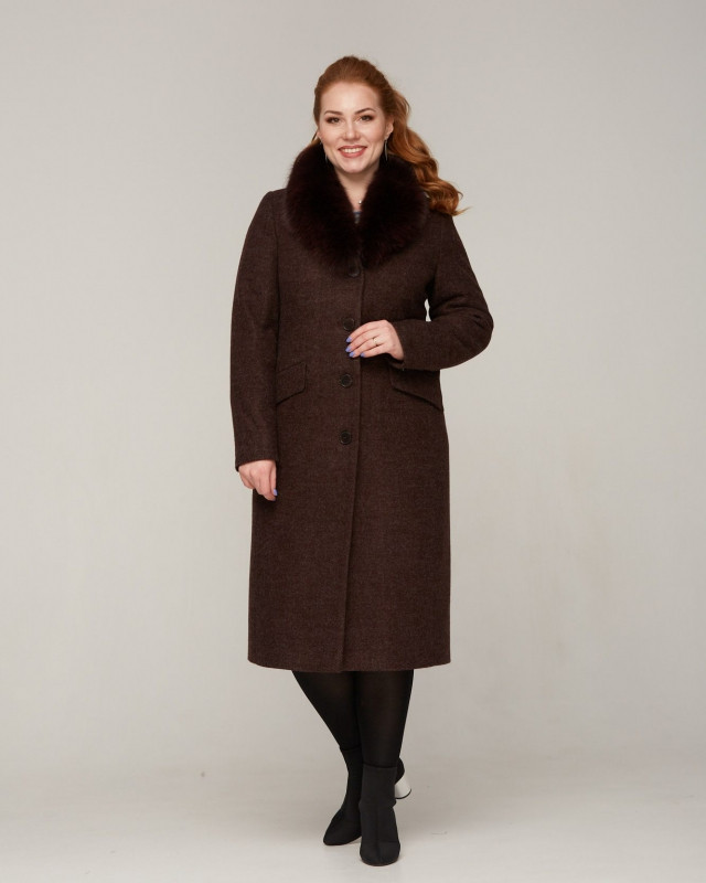 Пальто зимнее с меховой шалью батал