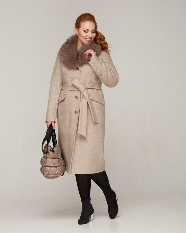 Пальто зимнее кашемир с меховой шалью бежевое батал