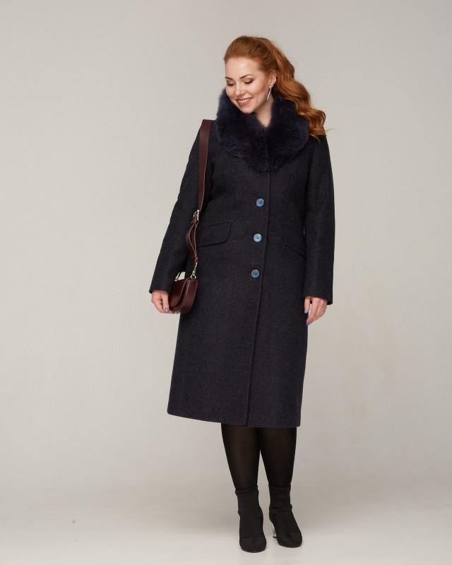 Пальто зимнее с меховой шалью темно-синее