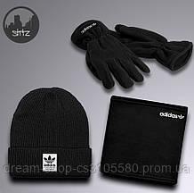 Теплый зимний набор шапка бафф и перчатки для мужчин Адидас